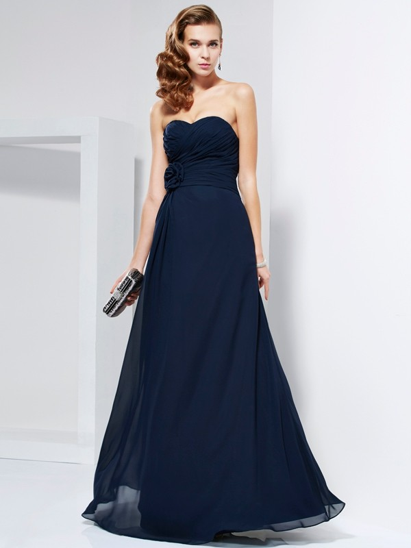 A-Line Sweetheart Floor-Length Dark Navy Prom Dresses