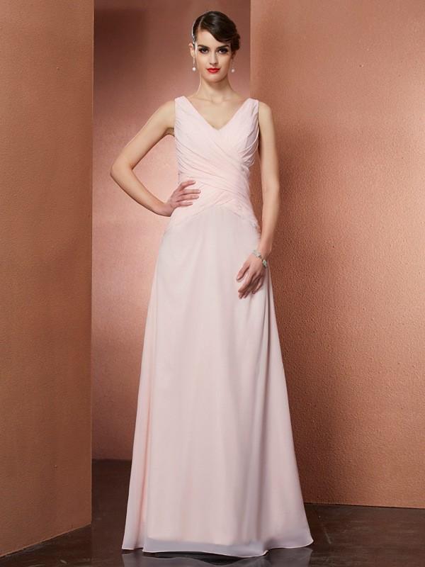 A-Line Chiffon V-neck Floor-Length Pearl Pink Prom Dresses