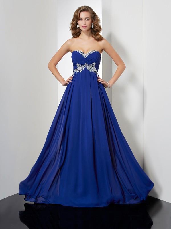 A-Line Chiffon Sweetheart Brush Train Royal Blue Prom Dresses