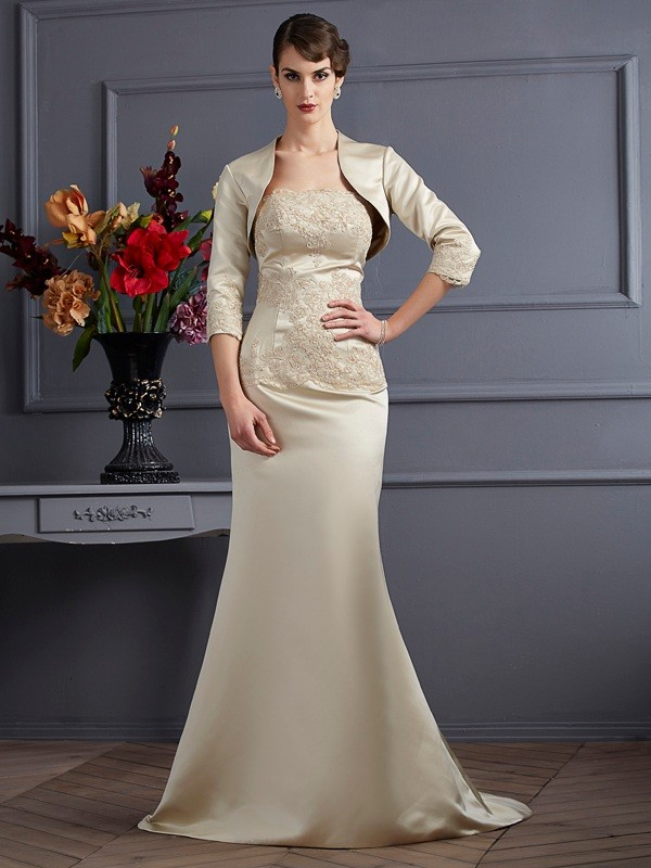 Satin Strapless Brush Train Champagne Mother of the Bride Dresses