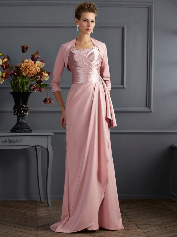 Elastic Woven Satin Straps Brush Train Pink Mother of the Bride Dresses