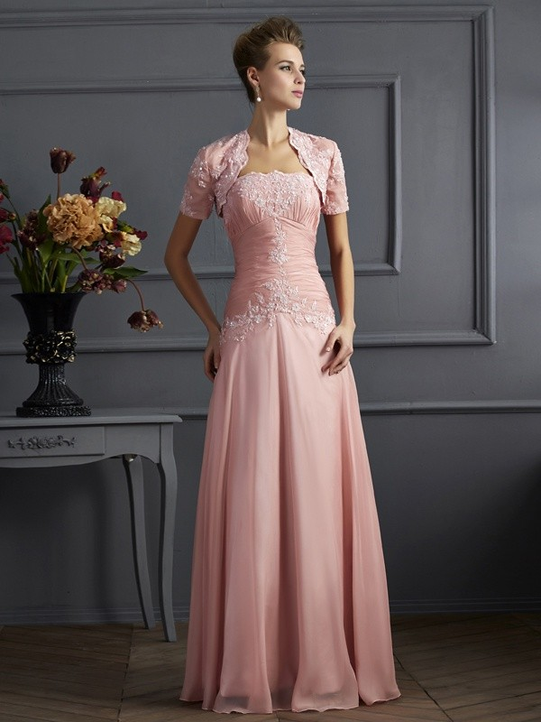 A-Line Chiffon Sweetheart Long Mother of the Bride Dresses with Applique