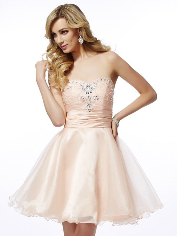 Tulle Sweetheart Short/Mini Pearl Pink Homecoming Dresses