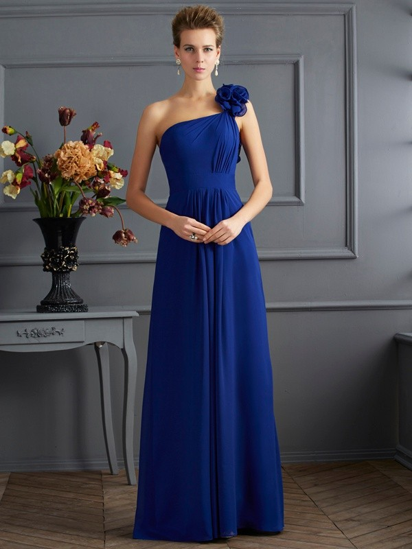 Royal Blue One-Shoulder Chiffon Floor-Length Prom Dresses