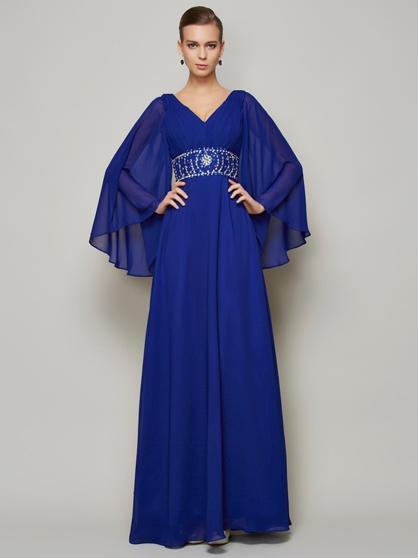 A-Line Chiffon Long Sleeves V-neck Long Prom Dresses with Beading