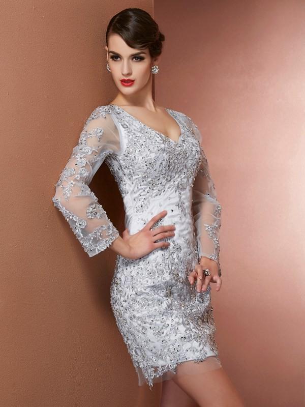 Sheath Long Sleeves V-neck Short/Mini Silver Homecoming Dresses