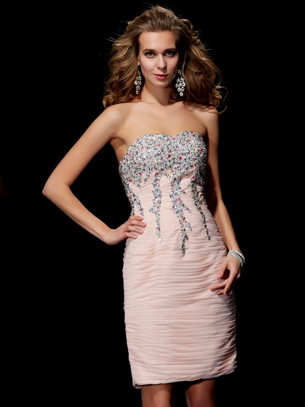 A-Line Sweetheart Short/Mini Pearl Pink Homecoming Dresses