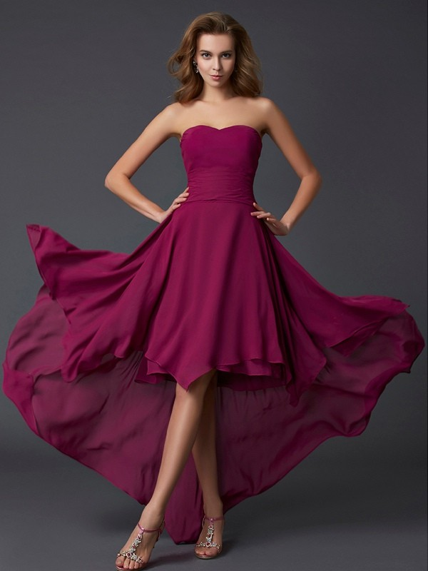 A-Line Sweetheart Asymmetrical Burgundy Prom Dresses