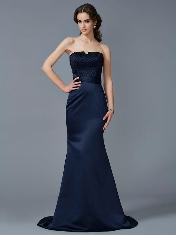 Mermaid Satin Strapless Brush Train Prom Dresses with Beading