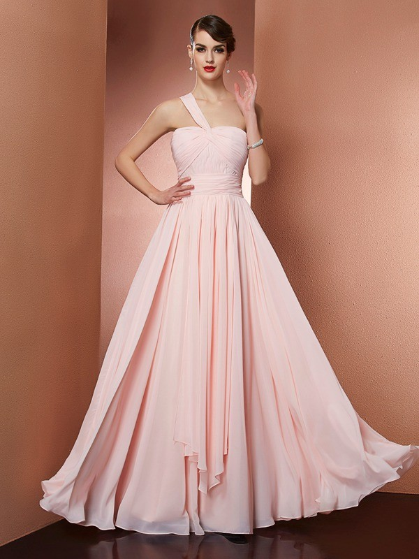 A-Line Chiffon One-Shoulder Floor-Length Prom Dresses with Pleats