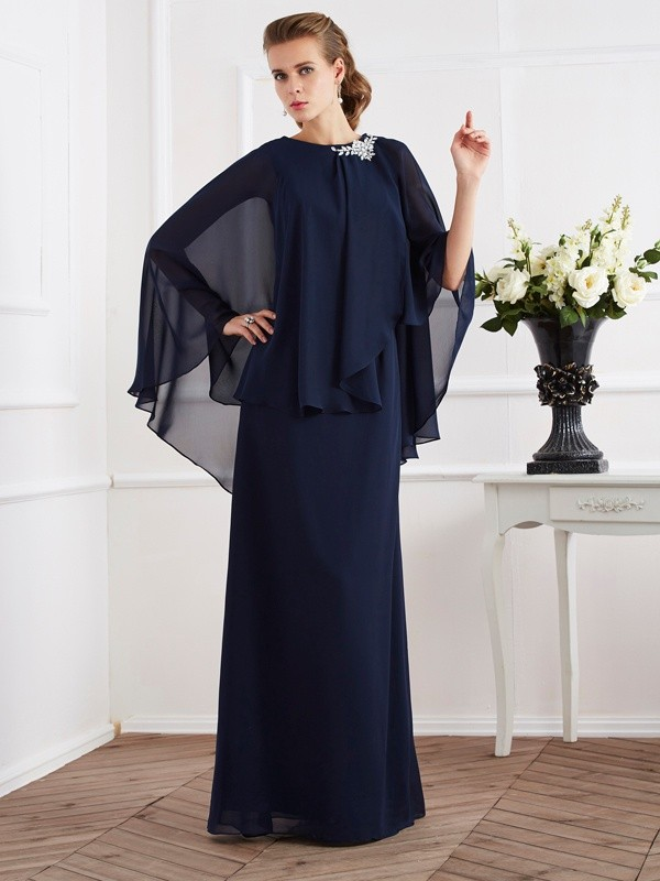 A-Line High Neck Long Royal Blue Mother of the Bride Dresses