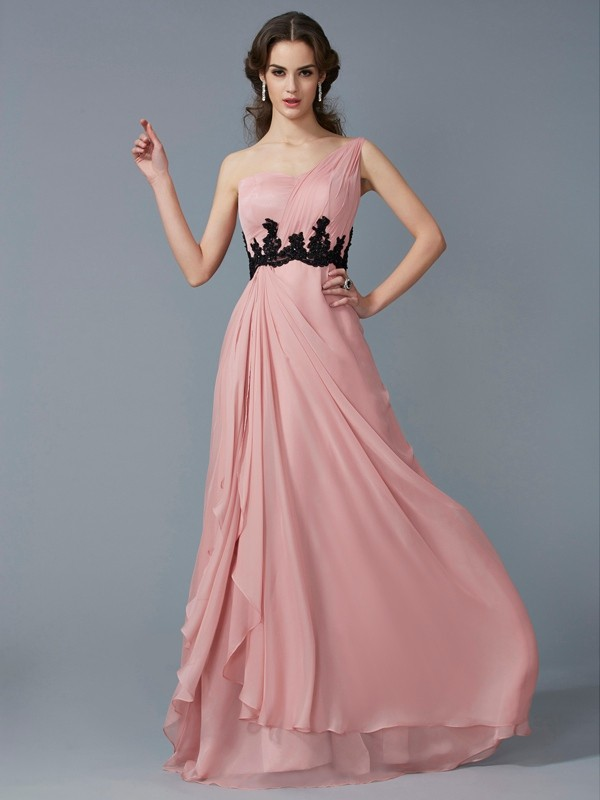Chiffon One-Shoulder Floor-Length Pearl Pink Prom Dresses