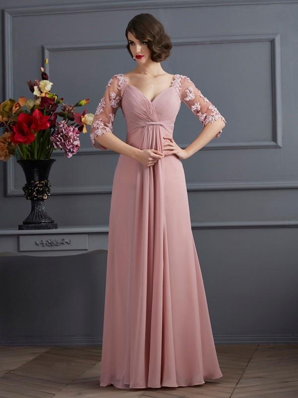 Chiffon Sweetheart Floor-Length Pearl Pink Prom Dresses