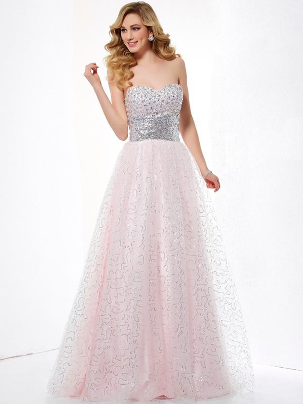 Satin Sweetheart Floor-Length Pearl Pink Prom Dresses