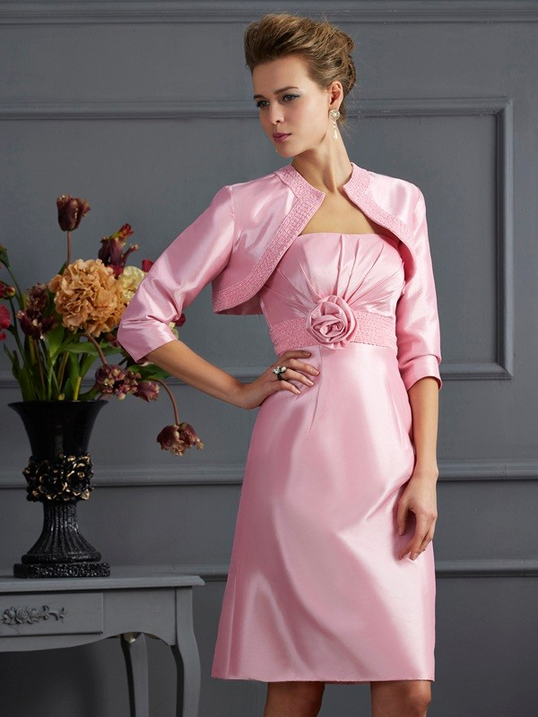 Taffeta Strapless Knee-Length Mother of the Bride Dresses with Beading