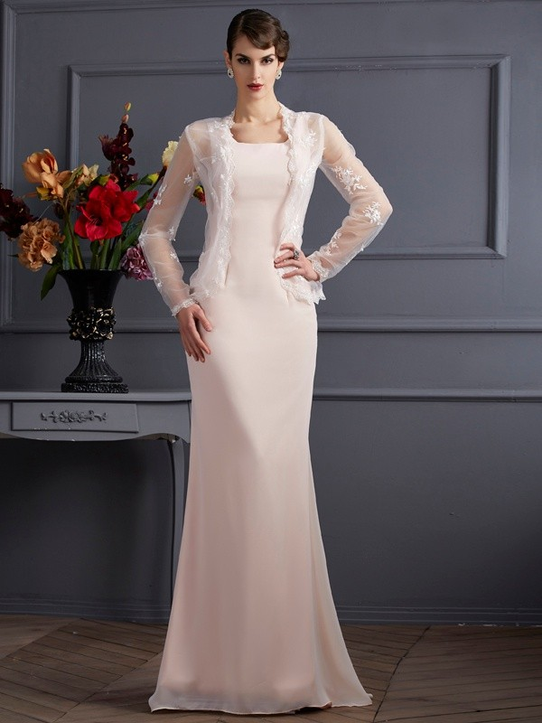 Pearl Pink Square Chiffon Long Mother of the Bride Dresses