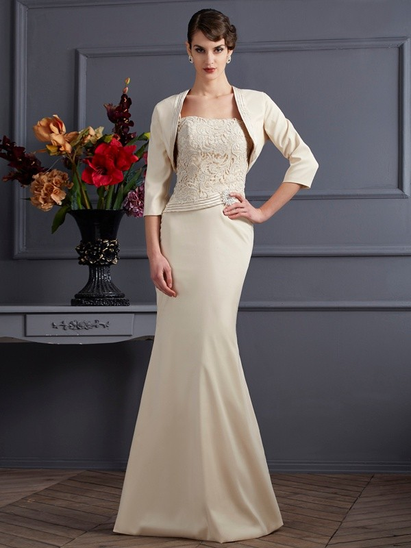 Sheath Square Long Champagne Mother of the Bride Dresses with Lace