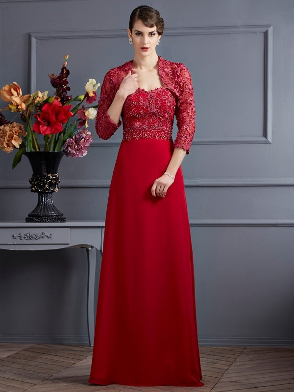 Chiffon Sweetheart Floor-Length Red Mother of the Bride Dresses