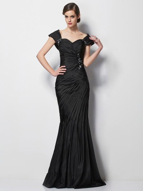 Black Sweetheart Taffeta Brush Train Mother of the Bride Dresses