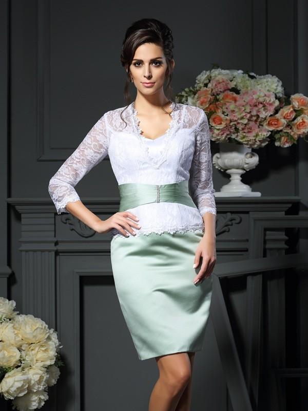Sheath V-neck Short/Mini White Mother of the Bride Dresses