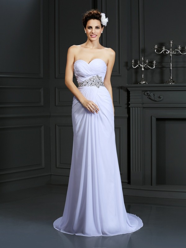Sheath Sweetheart Chapel Train White Wedding Dresses