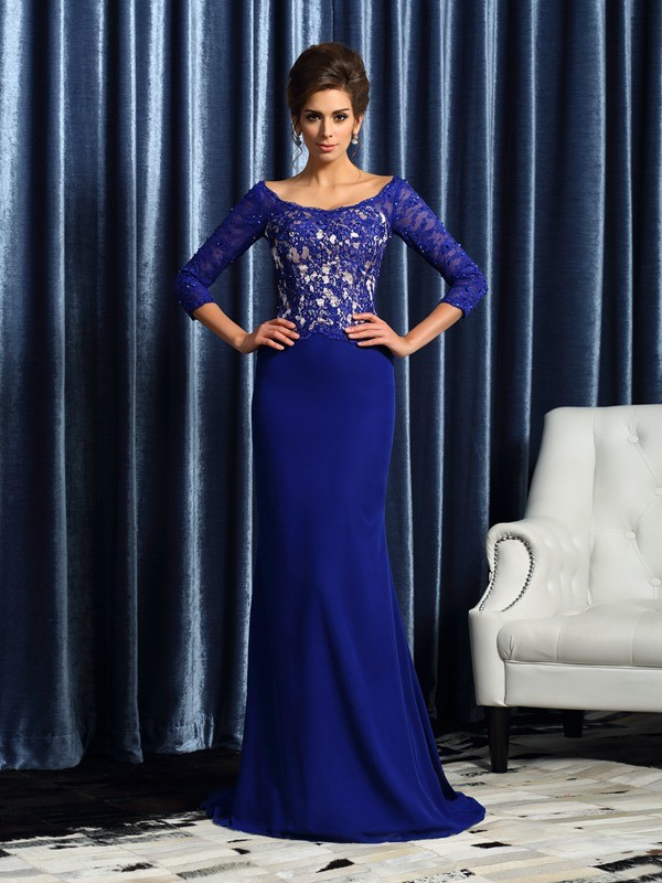 Chiffon 3/4 Sleeves Scoop Brush Train Royal Blue Mother of the Bride Dresses