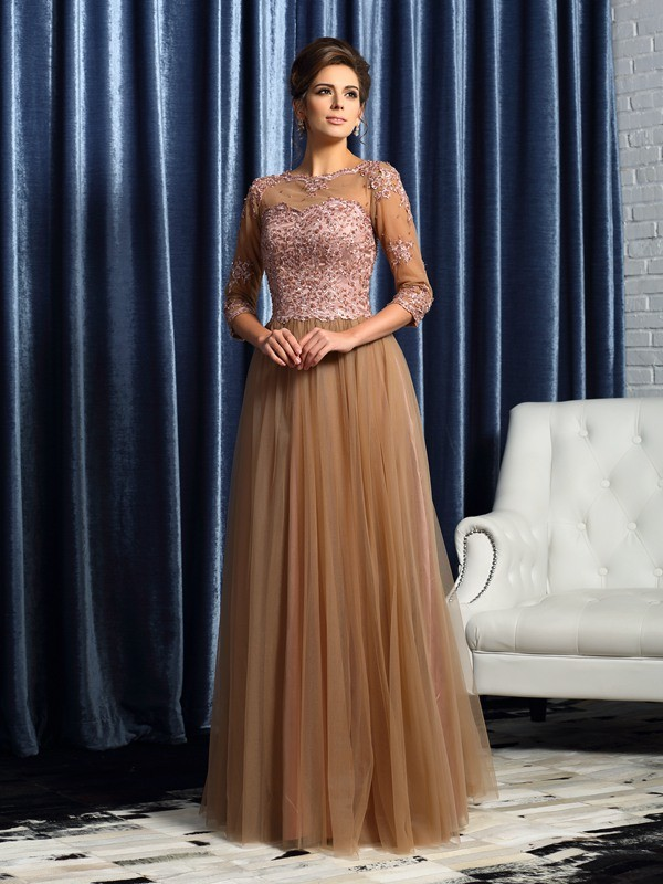 Brown A-Line Scoop Long Mother of the Bride Dresses