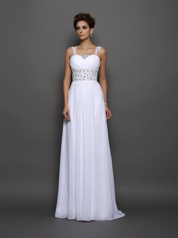 A-Line Straps Court Train White Wedding Dresses