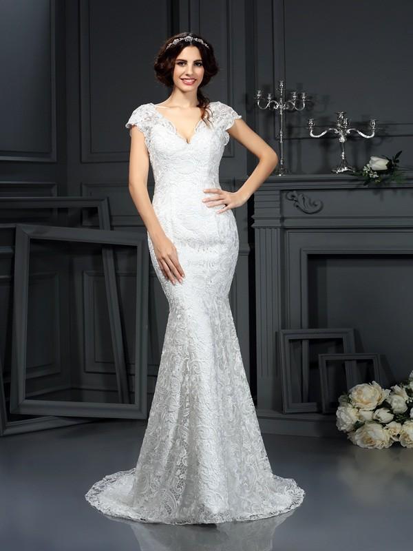 Lace V-neck Court Train Ivory Wedding Dresses
