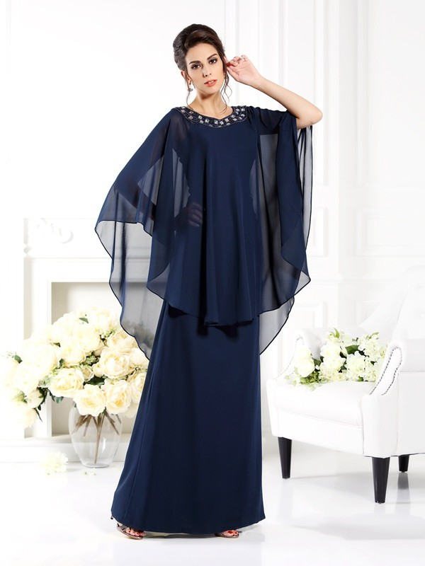 A-Line Chiffon 3/4 Sleeves Scoop Long Dark Navy Mother of the Bride Dresses
