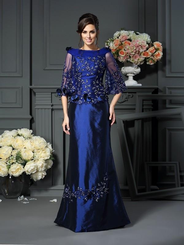 Taffeta Half Sleeves Scoop Long Royal Blue Mother of the Bride Dresses