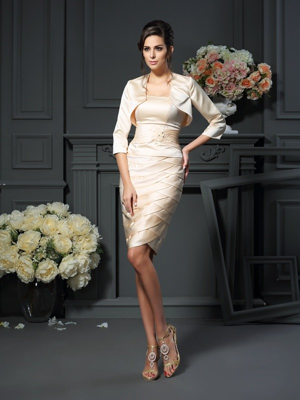 Strapless Knee-Length Champagne Mother of the Bride Dresses with Pleats