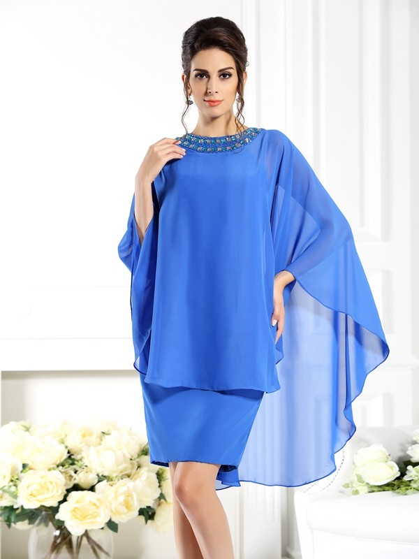 Sheath Bateau Knee-Length Blue Mother of the Bride Dresses