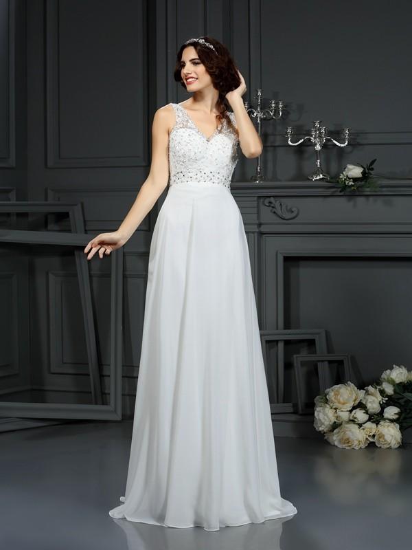 Chiffon A-Line Brush Train V-neck Ivory Wedding Dresses