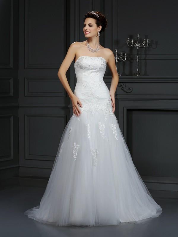 Sheath Strapless Court Train Ivory Wedding Dresses