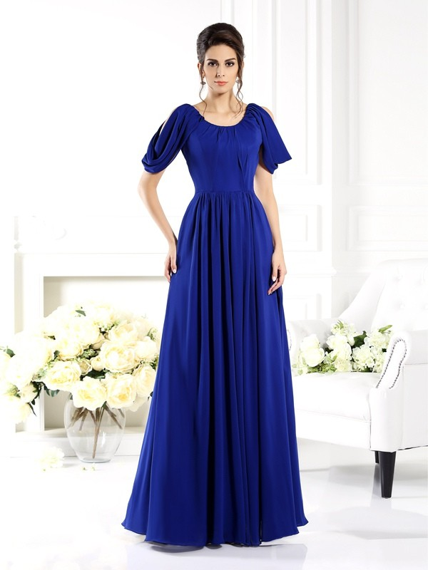 Royal Blue Scoop Floor-Length Mother of the Bride Dresses