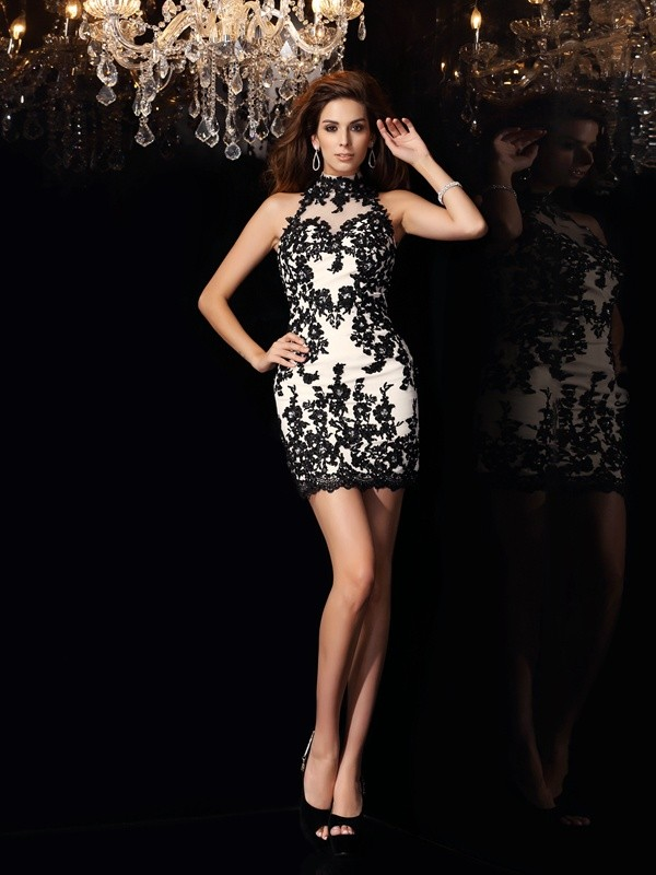 Champagne Sheath High Neck Short/Mini Homecoming Dresses with Beading