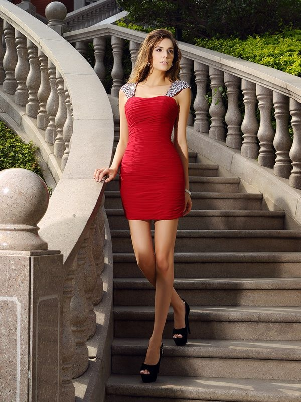 Short/Mini Red Straps Homecoming Dresses with Beading