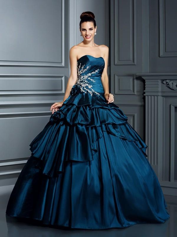 Floor-Length Dark Navy Strapless Prom Dresses with Beading