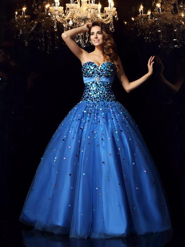 Satin Sweetheart Floor-Length Royal Blue Prom Dresses