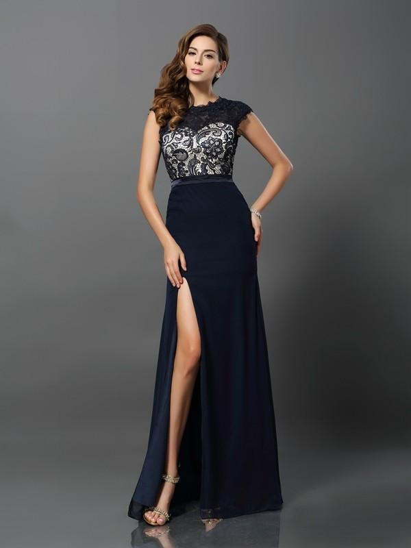Sheath Chiffon Short Sleeves Jewel Floor-Length Dark Navy Prom Dresses