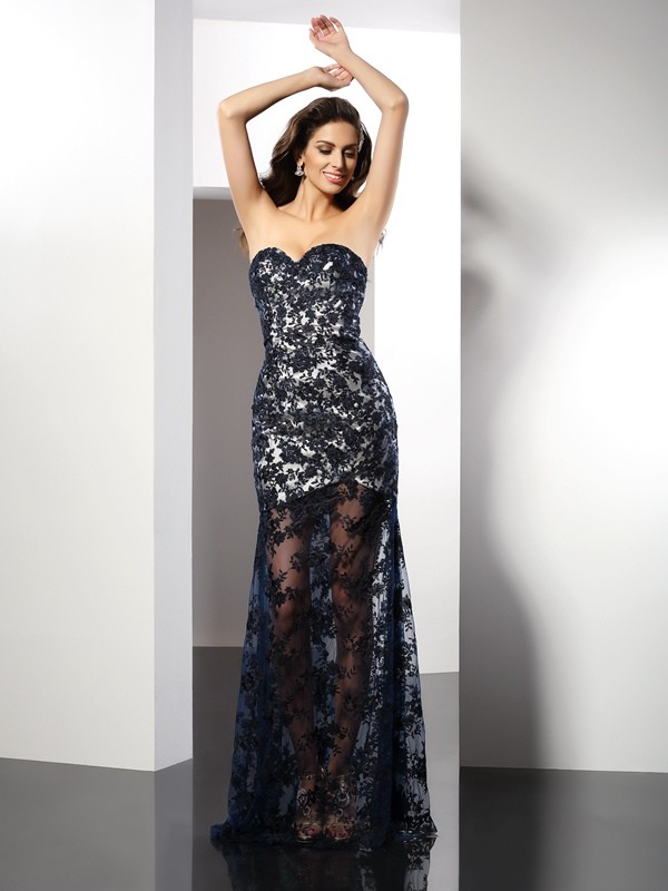 Sheath Satin Sweetheart Floor-Length Prom Dresses with Lace