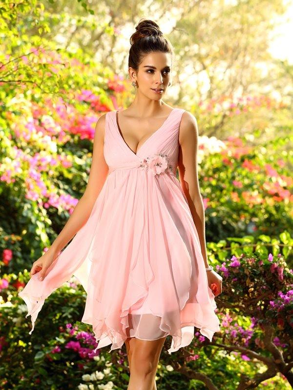 A-Line V-neck Knee-Length Pink Bridesmaid Dresses