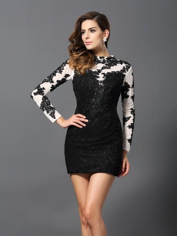 Sheath High Neck Short/Mini Black Homecoming Dresses