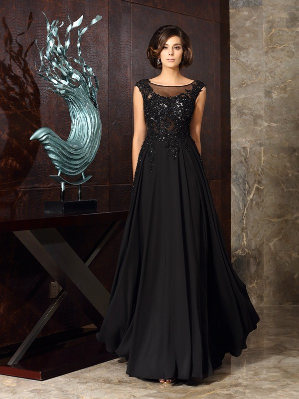 Chiffon Scoop Floor-Length Black Mother of the Bride Dresses