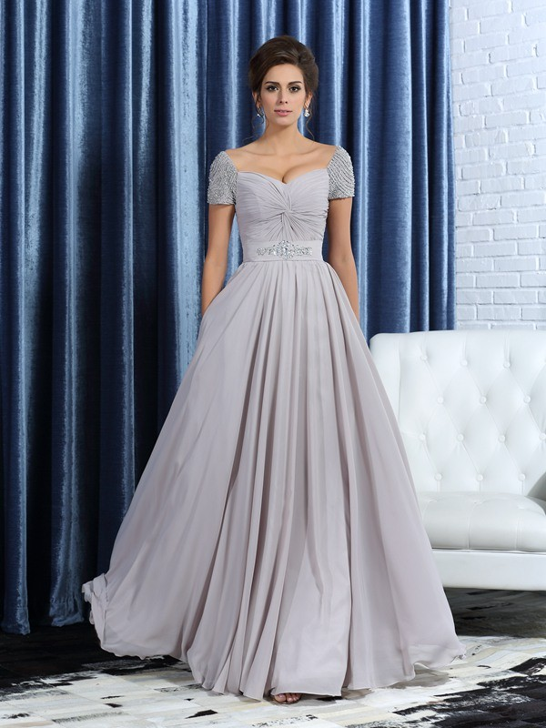 Chiffon Short Sleeves Ankle-Length Grey Mother of the Bride Dresses