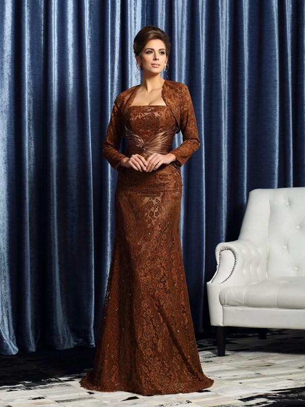 Strapless Court Train Chocolate Mother of the Bride Dresses