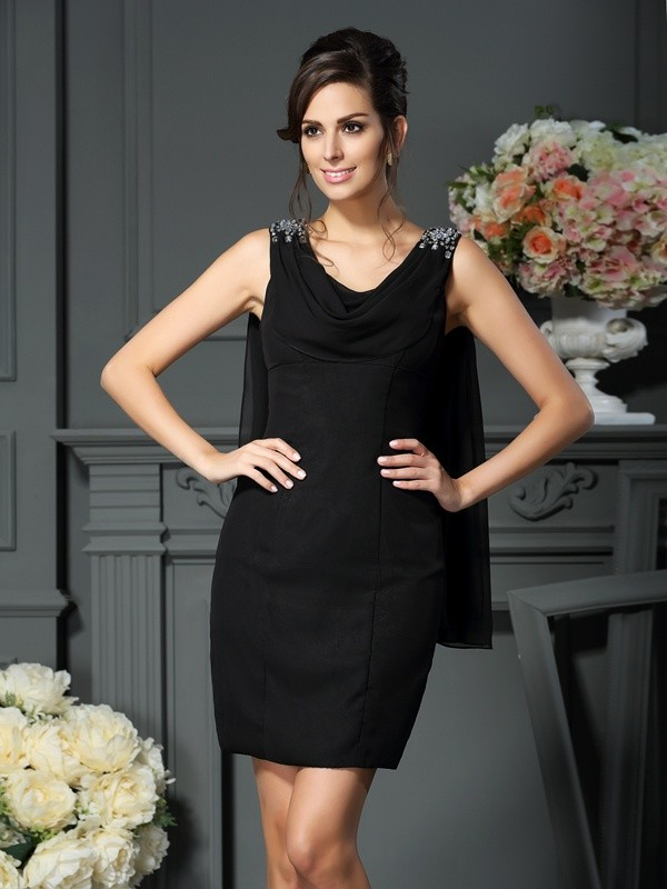 Sheath Scoop Short/Mini Black Mother of the Bride Dresses with Beading