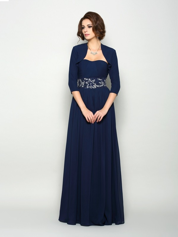 Dark Navy Floor-Length Mother of the Bride Dresses with Beading