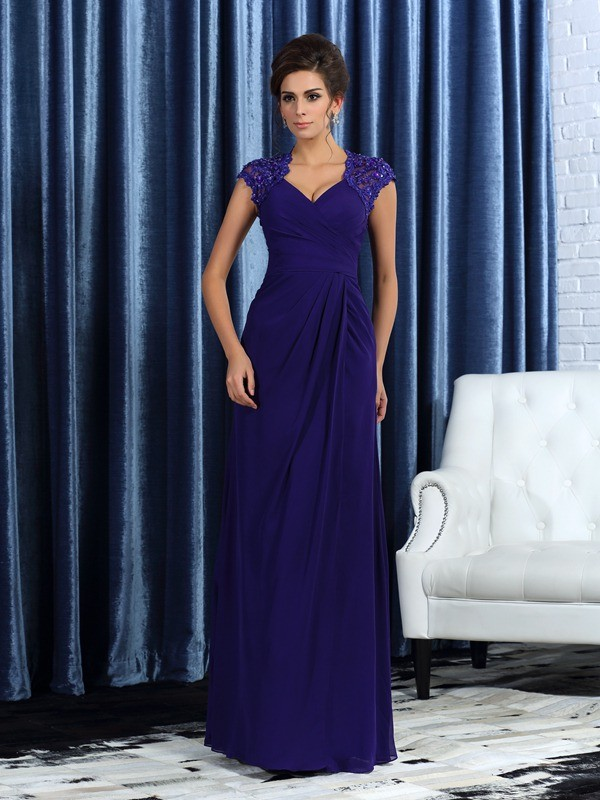 Grape V-neck Chiffon Floor-Length Mother of the Bride Dresses
